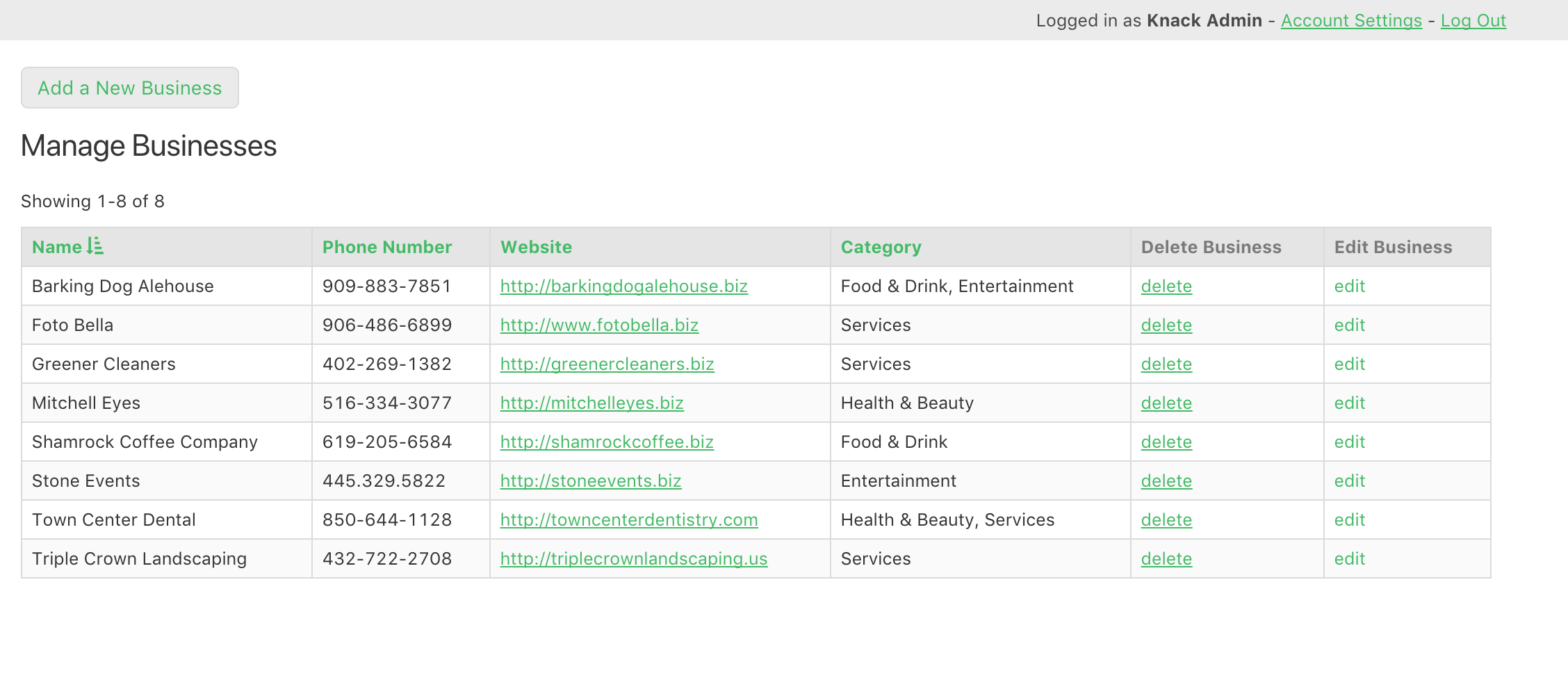 Admins can log in to add and edit the business listings.