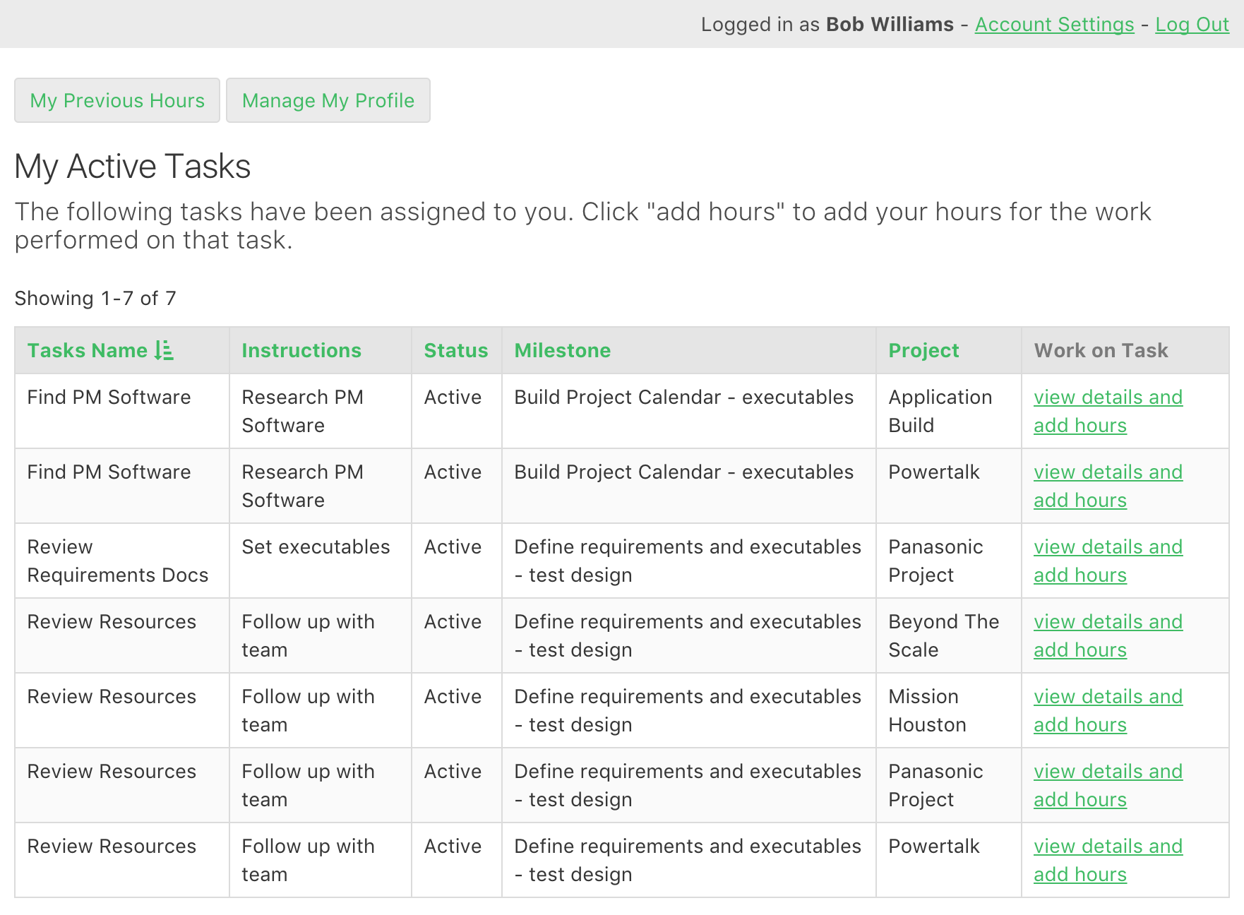 Employees log in and view all the tasks assigned to them to work on.